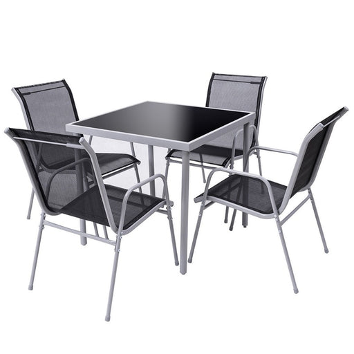 5 Pieces Bistro Set Garden Chairs and SquareTable Set Modern Steel Patio Outdoor Furniture Sets
