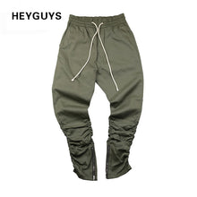 HEYGUYS army Pants Casual Skinny Zipper botton Sweatpants Solid Hip Hop high street Trousers  Pants Men Joggers Slimming pants