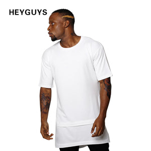HEYGUYS 2017 hip hop t shirts men oversize t-shirts black white Fake two pieces length captain america t shirt fashion