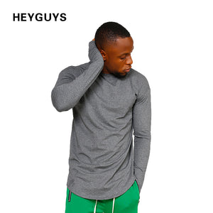 HEYGUYS original  men's  pure color foundation Europe street style T-shirt long sleeve t-shirt bottoming loose head
