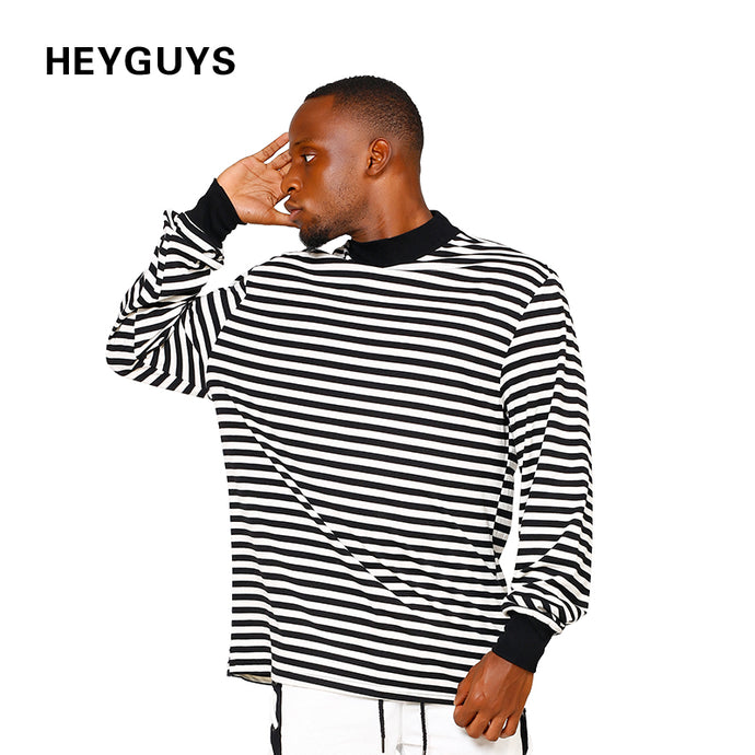 HEYGUYS original 2018 men's striped foundation Europe street style T-shirt long sleeve t-shirt men bottom loose head