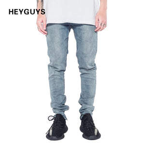 HEYGUYS 2018 fashion Fitness jeans Men Casual Trousers Fashion Fitted Bottoms zipper street wear hip hop blue straight jeans man