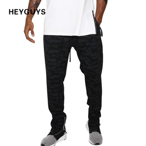 HEYGUYS 2018 fashon Fitness Long Pants Men Casual pants Trousers Fashion Fitted Bottoms zipper pants men streetwear hiphop