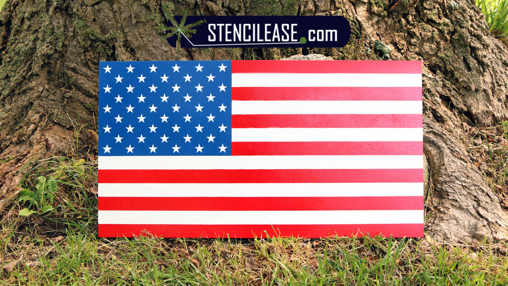 Spray Paint an American Flag Stencil onto Wood