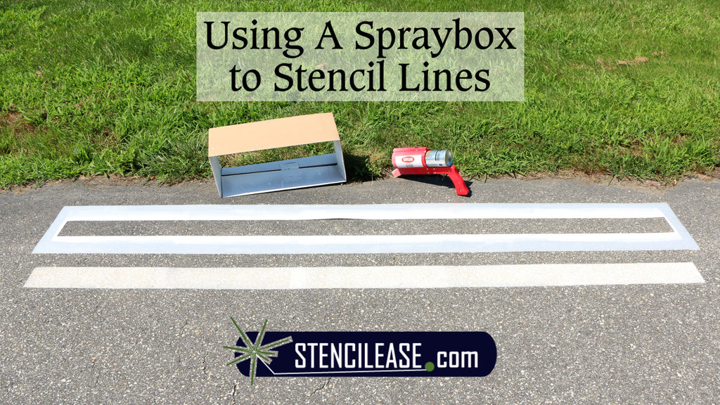 Using a Spray Box to Spray Paint Parking Lot Line Stencil