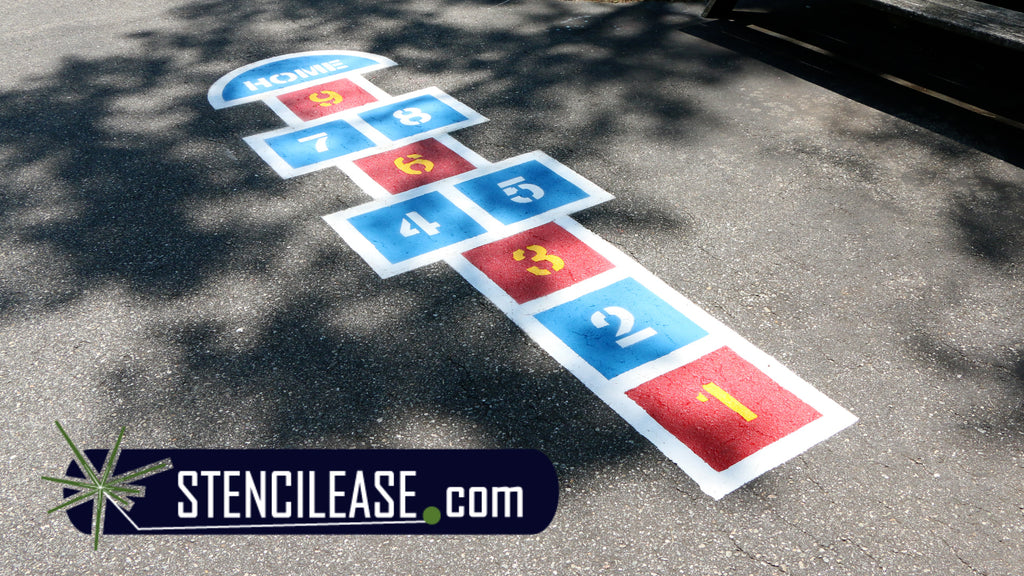 Here is the final hopscotch stencil
