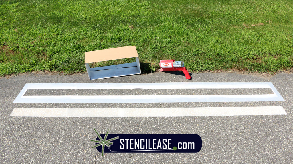 Spray box, StencilEase Line Stencil, Krylon Inverted Marking Wand and Professional Line Striping paint,