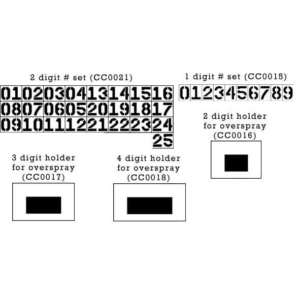 2 Digit Number Stencil Set from 00-25 26 piece