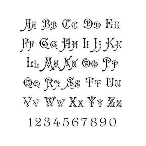 Ornate Font Letter and Number Stencil Set