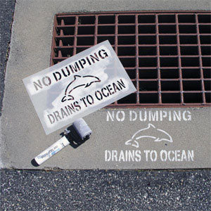 No Dumping Drains to Ocean Storm Drain Stencil on Pavement