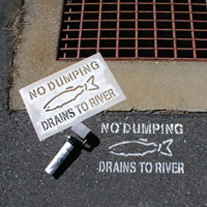 No Dumping Drains to River Storm Drain Stencil