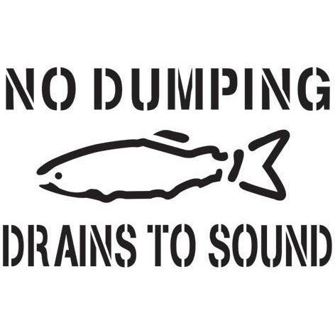 No Dumping Drains to Sound Storm Drain Stencil