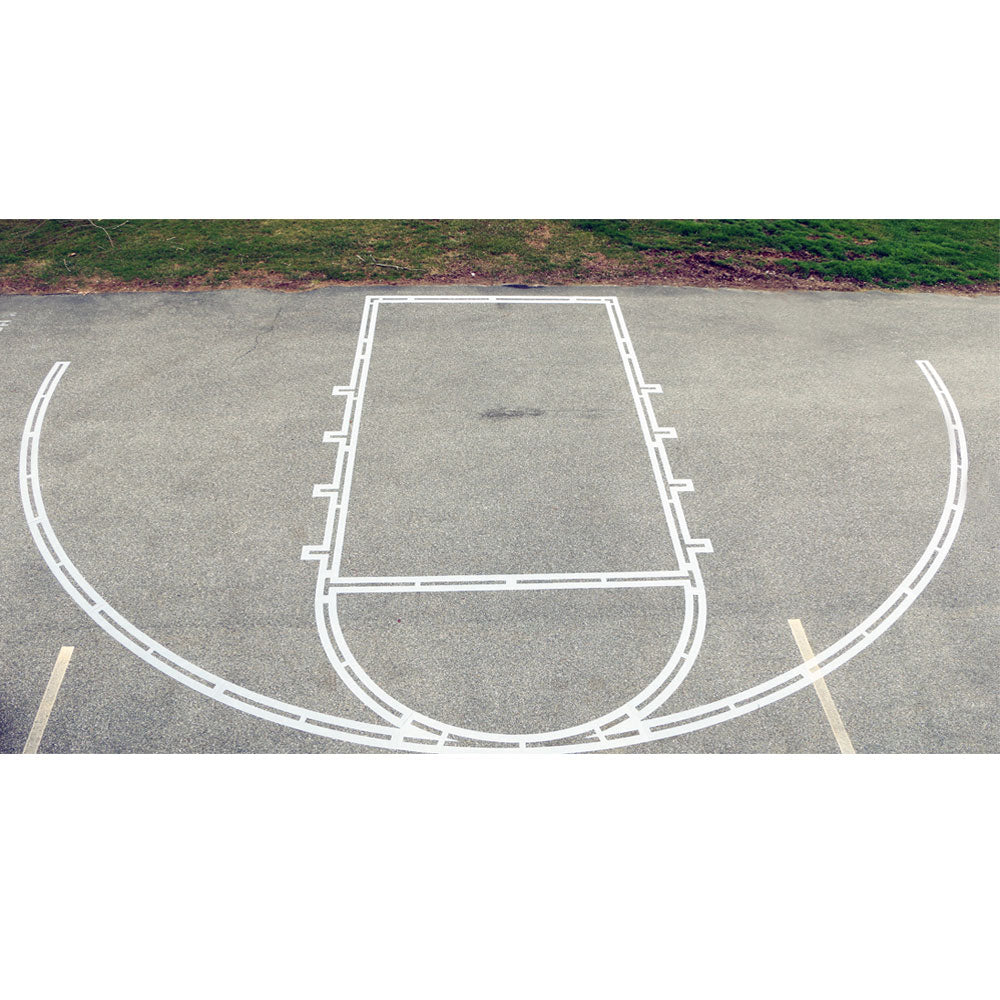 basketball court stencil layed out
