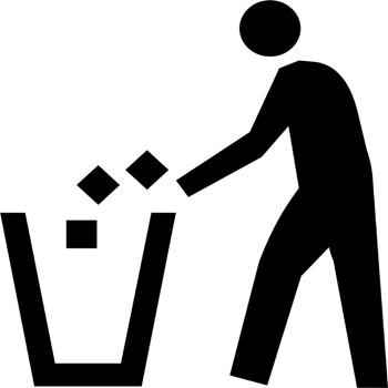 Waste Trash Disposal Sign Symbol Stencil