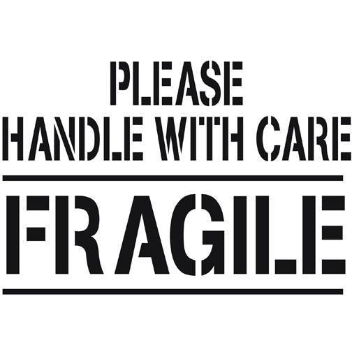 Please Handle with Care Fragile Shipping Stencil