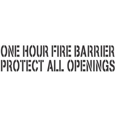 One Hour | Fire Barrier and Smoke Barrier Signs | Fire Code Stencils