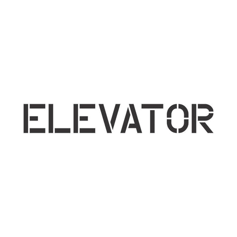 Elevator sign stencil for walls.