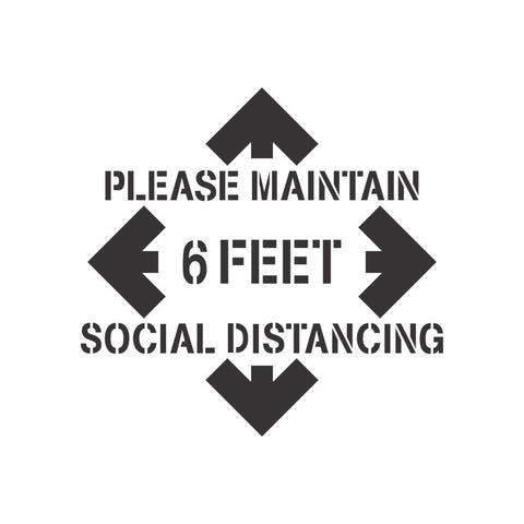 Social Distancing Floor Sign Stencil