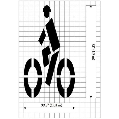 Bike with Rider Symbol MUTCD Standard Pavement Stencil