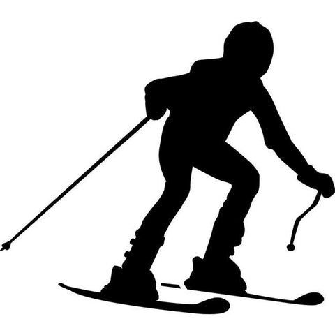 Downhill Race Skiing Stencil