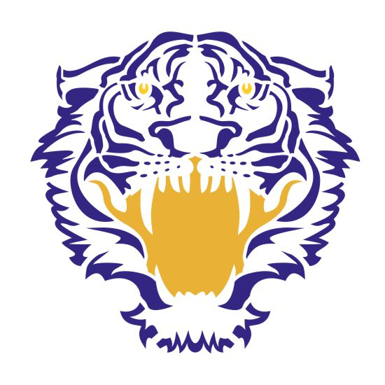 Tiger Face Forward Mascot Stencil