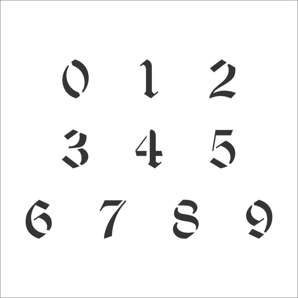 Old English Number Stencil Set | Value Pack