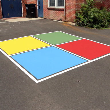 Four Square Playground Game Stencil