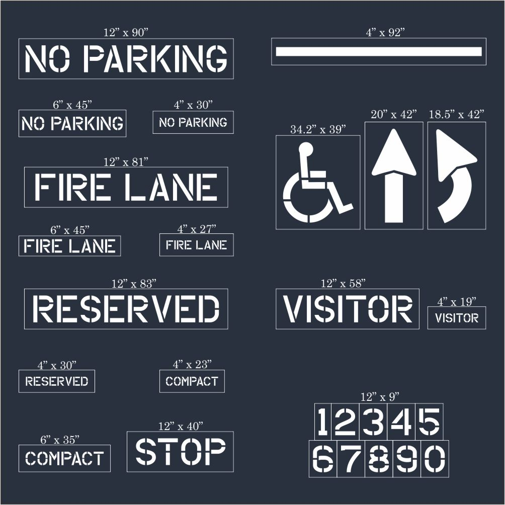 Parking Lot and Road Marking Stencil Kit with Dimensions