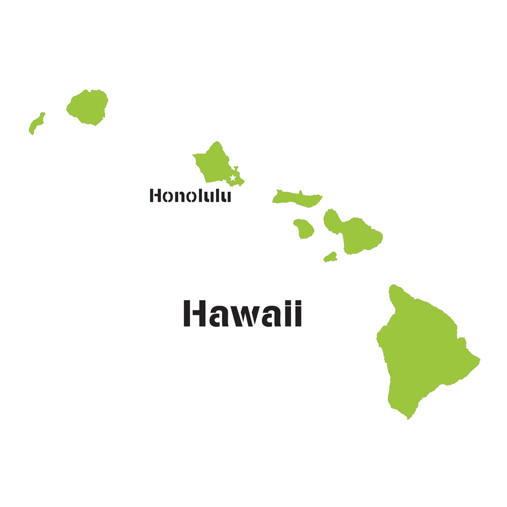 Hawaii State Map Stencil