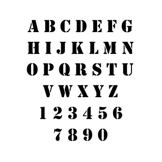 Stencil Font Letter and Number Stencil Sets