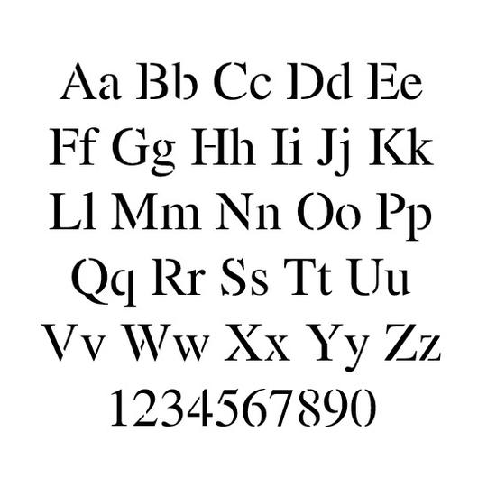 Times New Roman Letter and Number Stencil Sets