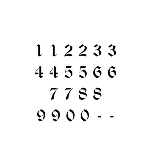Old English Letter and Number Stencil Sets – Stencil EaseOld English Numbers