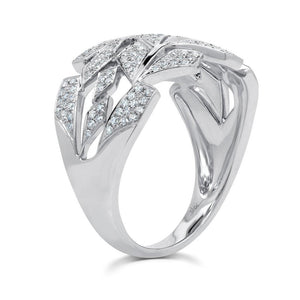 14K Diamond Leaf Band-S24