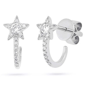 14K Diamond Star Hoop Earrings-S24