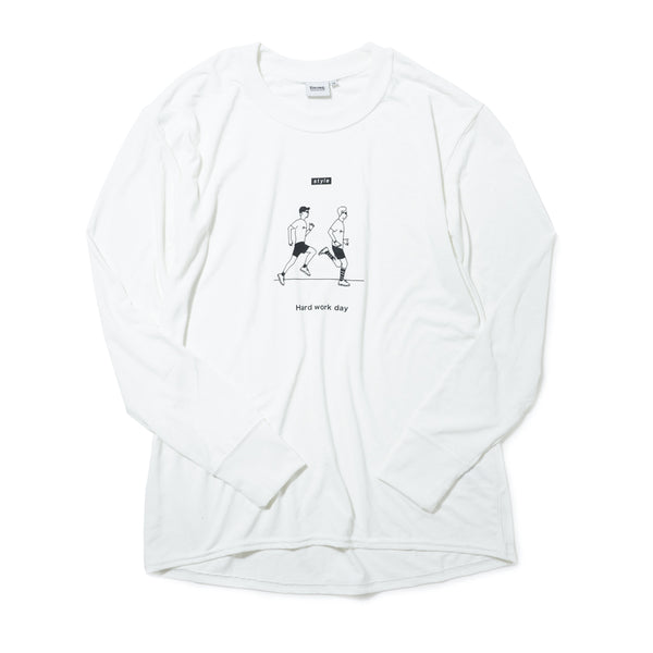 【HAGI×Runtrip】Style long-Sleeve Tee / Hard work (White)