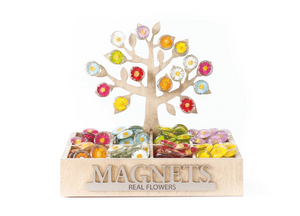 Floral Stone Magnets + Display