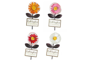 "Petal Lane Gift Metal Stone Magnet with Base Tag ""Earth Laughs in Flowers"""