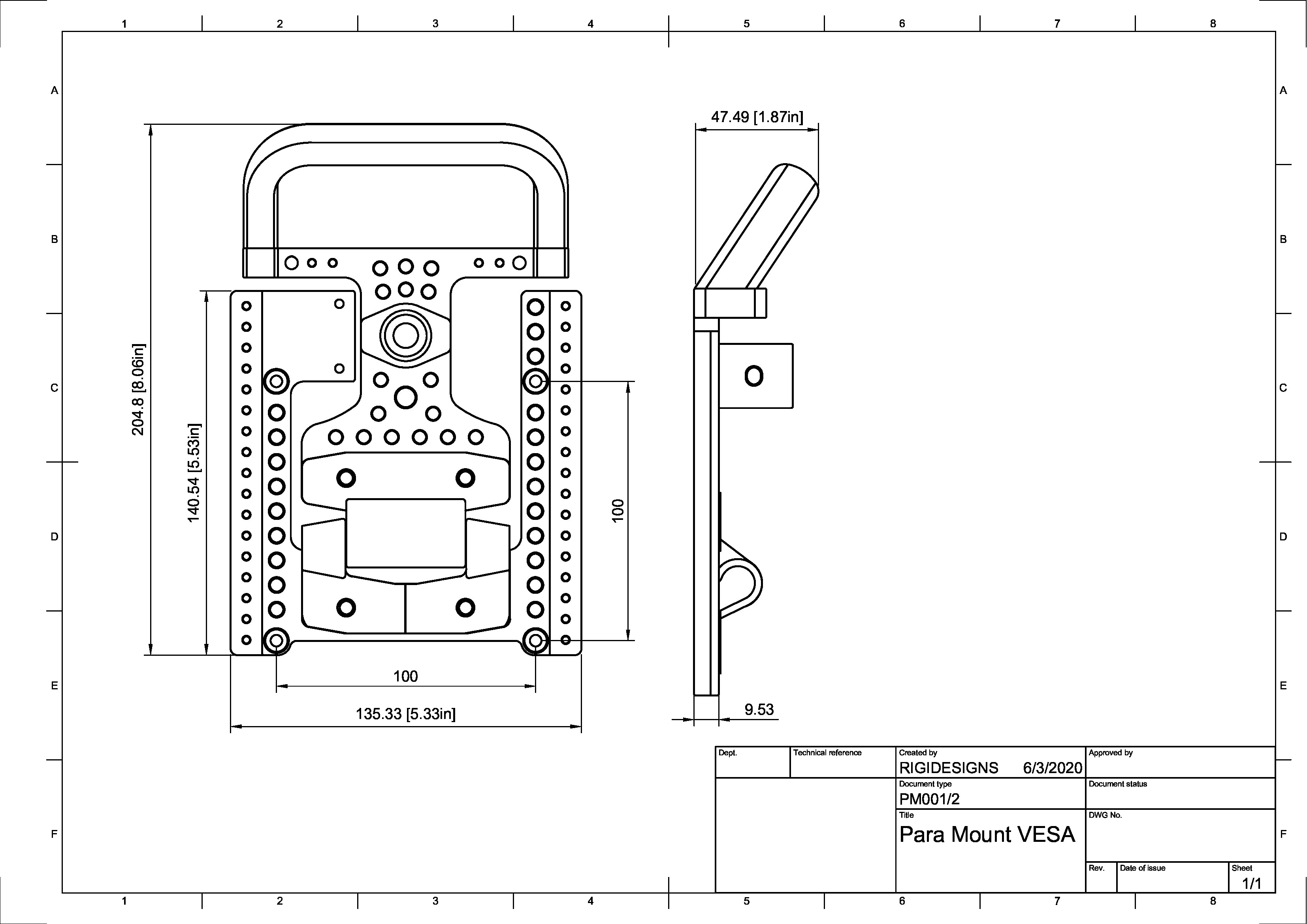 Para Mount VESA Product Drawing