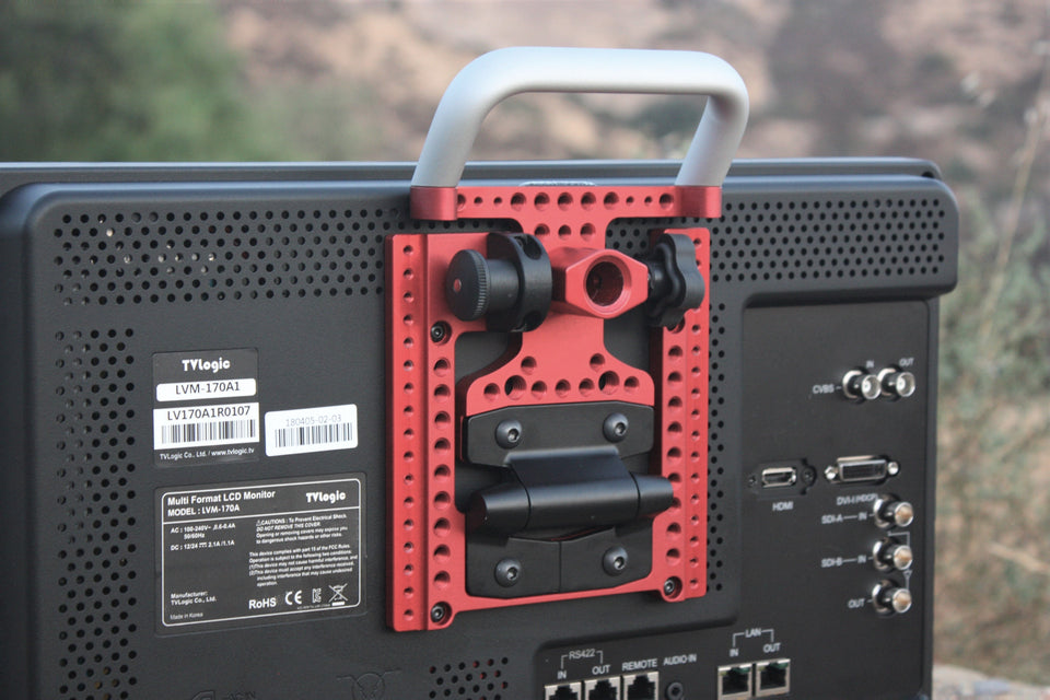 Para Mount VESA in red on the back of a TVLogic production monitor