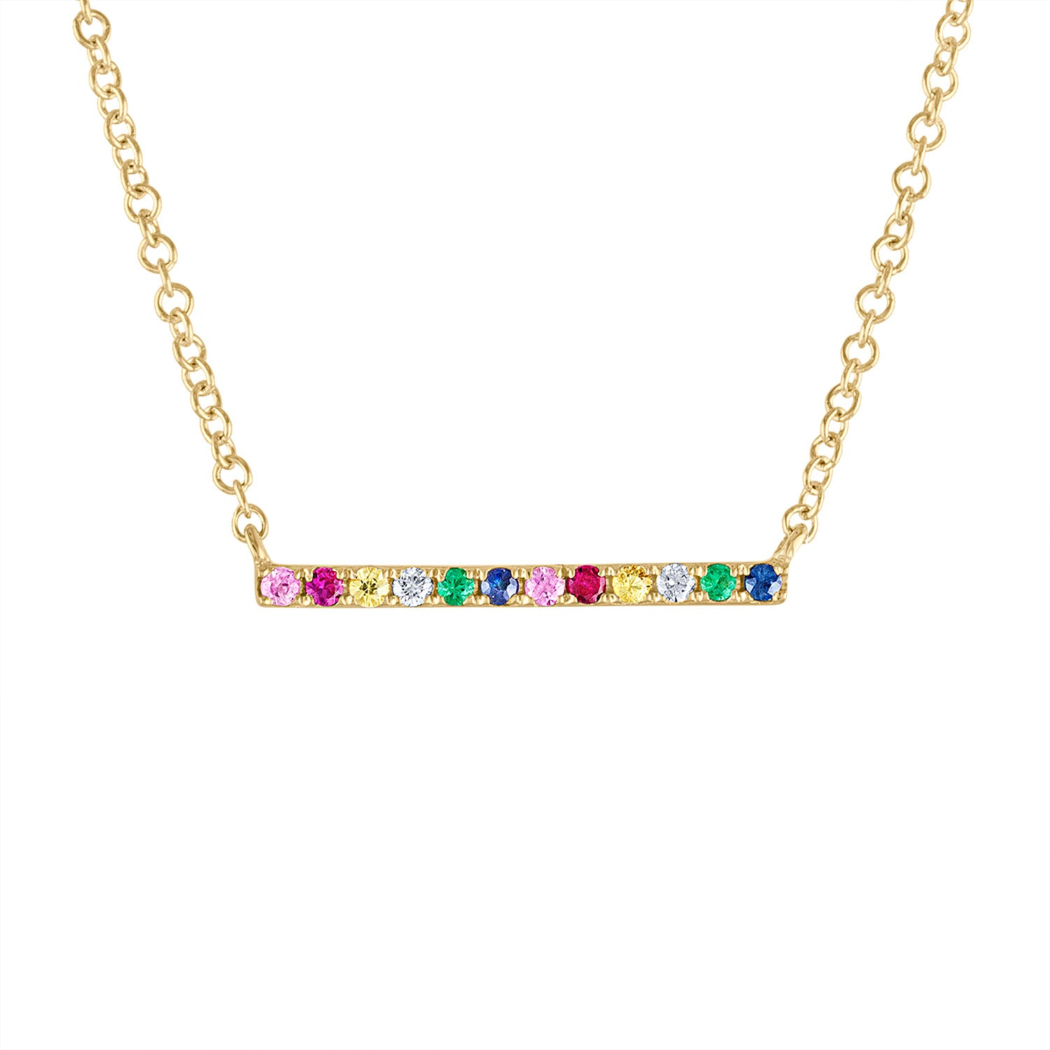 14k Yellow Gold precious stone bar necklace