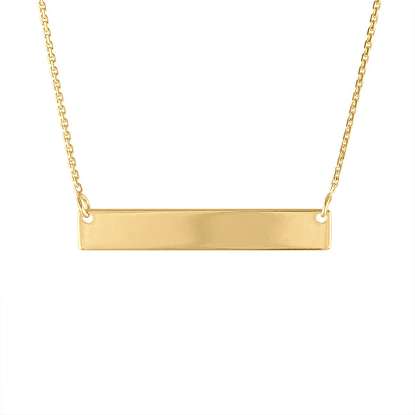 14k Yellow Gold name plate bar necklace