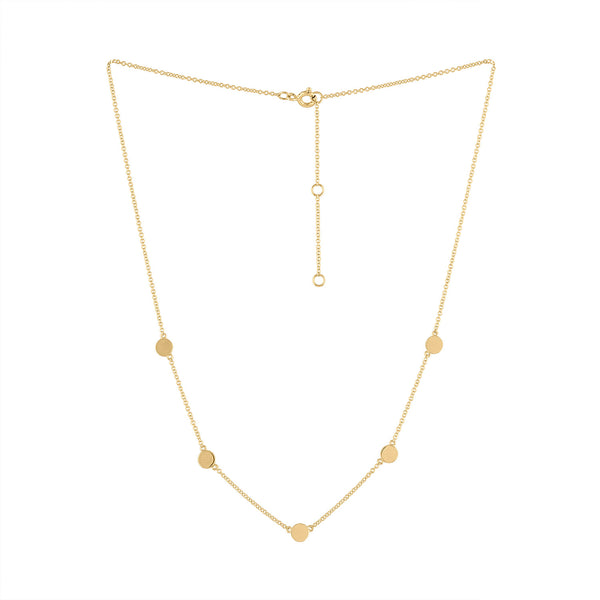 14k Yellow Gold plain five circle necklace
