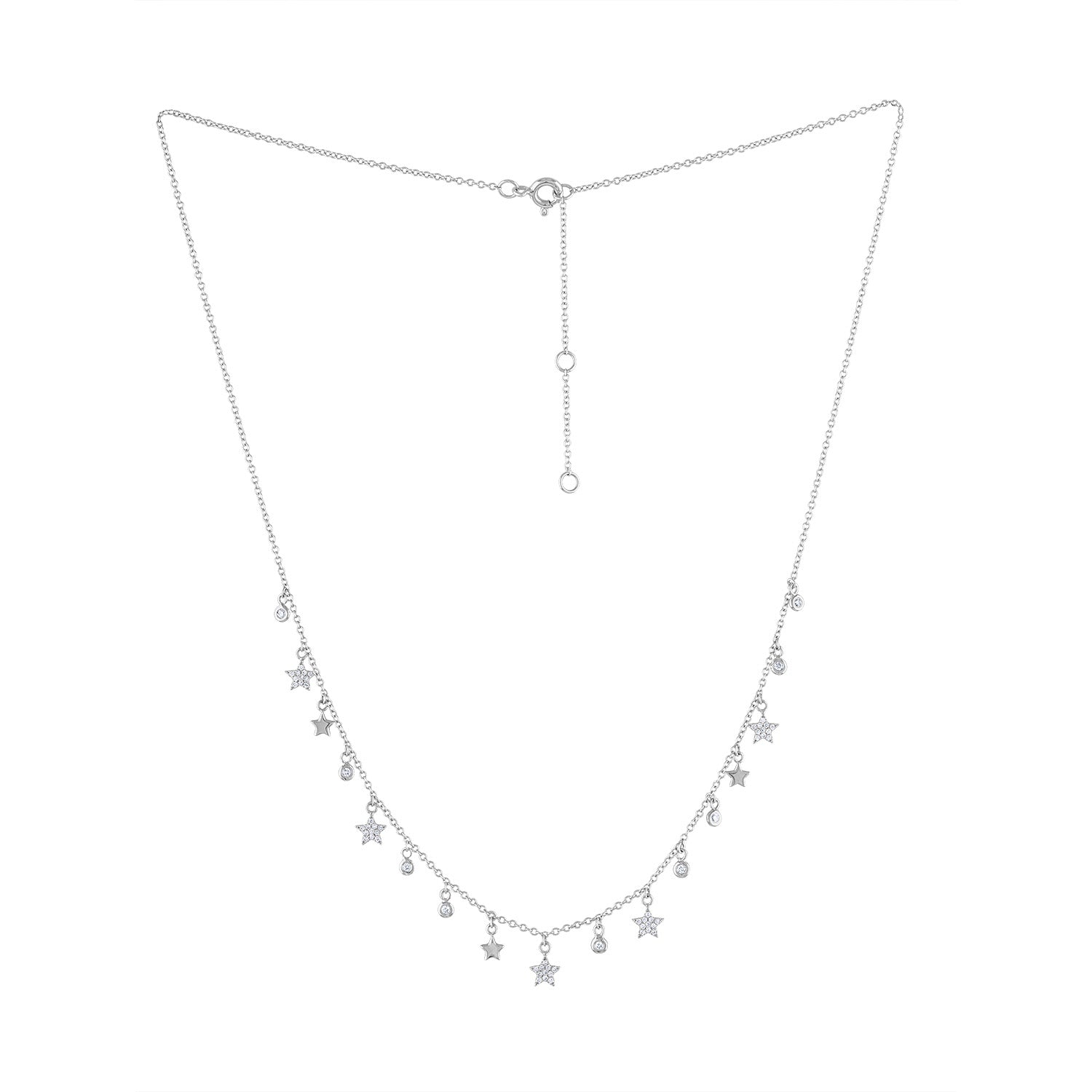 14K White Gold star bezel dangle necklace