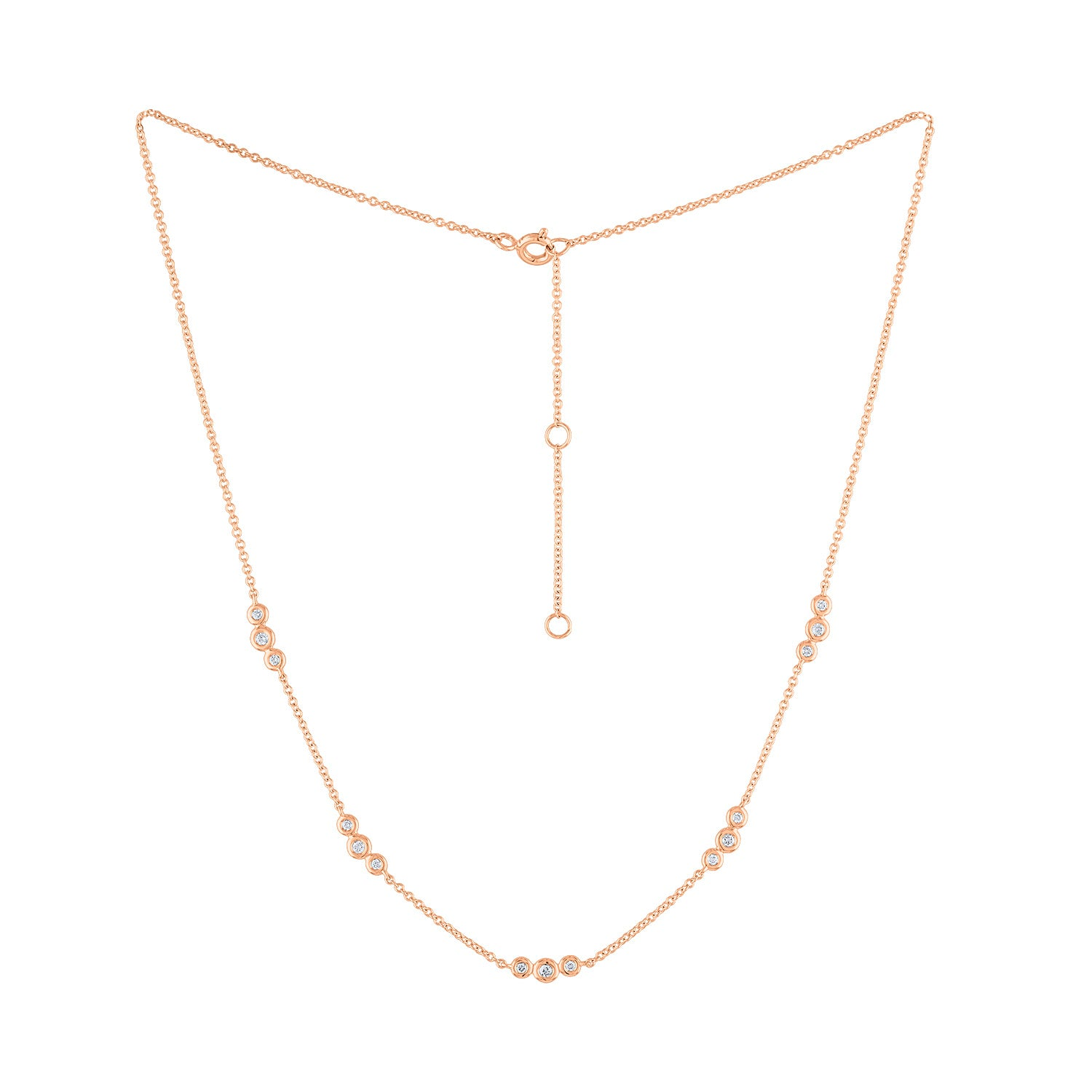 14k Rose Gold diamond sets of 3 bezel necklace
