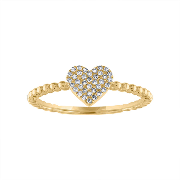 14KT GOLD PAVE DIAMOND HEART BEAD RING