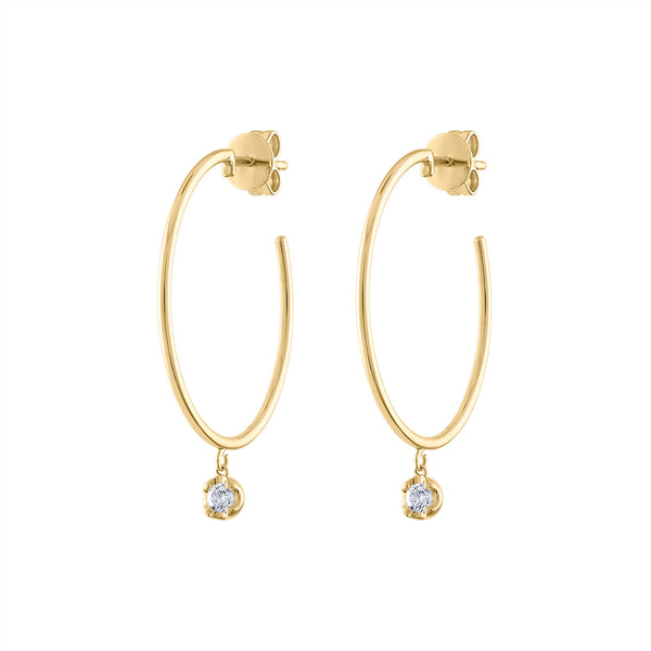 14KT GOLD DIAMOND BEZEL DROP HOOP EARRING