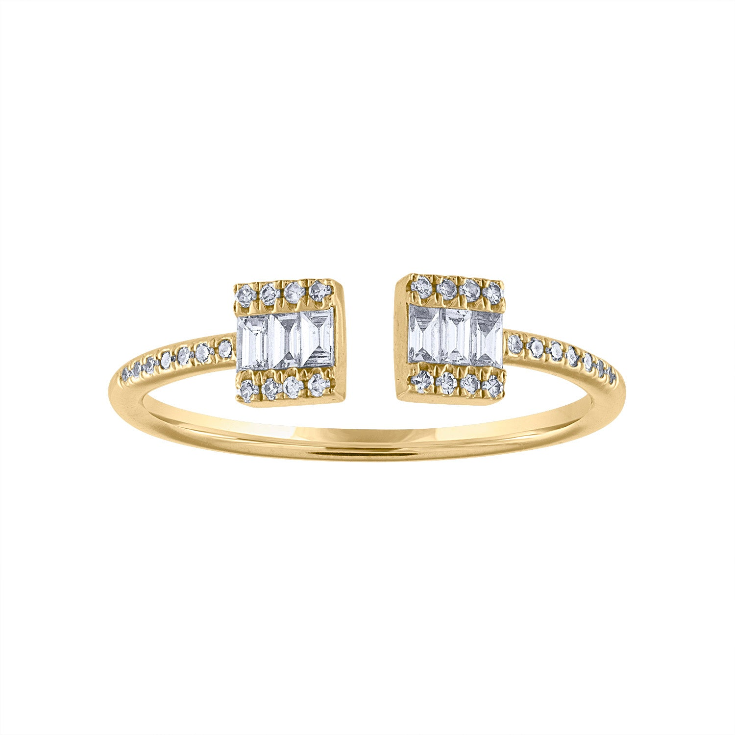 14KT GOLD DIAMOND BAGUETTE SQUARE CUFF RING