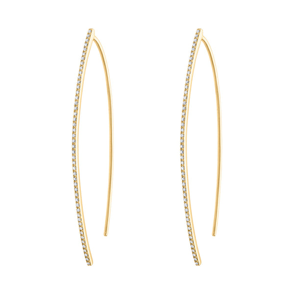 "14k Yellow Gold diamond ""V"" earring"