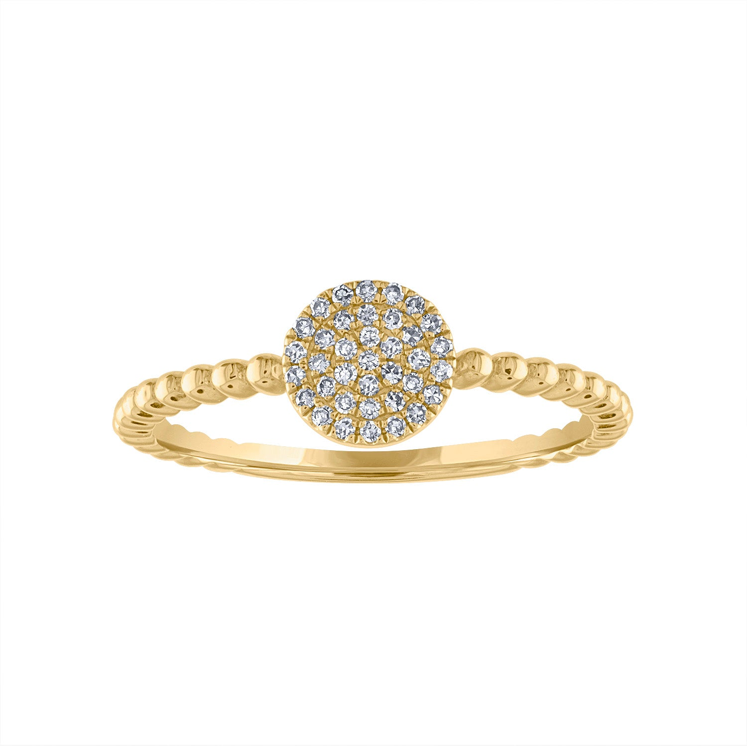 14KT GOLD PAVE DIAMOND DISK BEAD RING