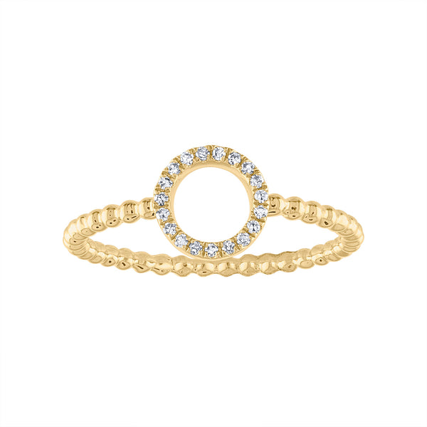 14KT GOLD DIAMOND OPEN CIRCLE BEAD RING